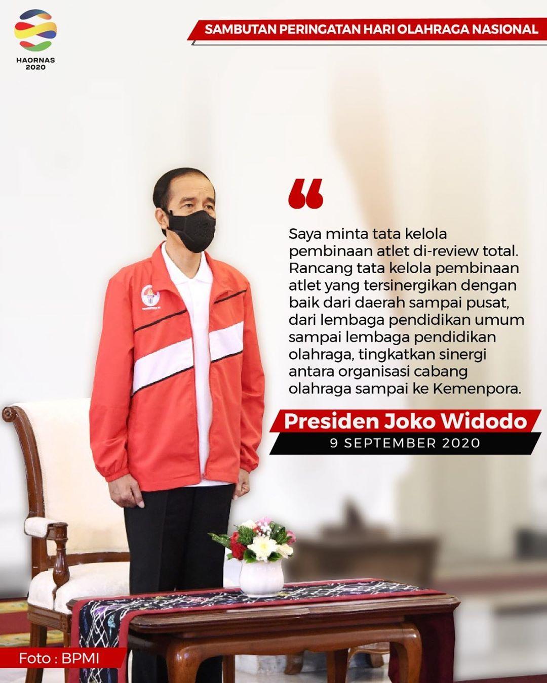 pesan Presiden RI Jokowi, saat pembukaan HAORNAS ke- 37 pada 9 September lalu.