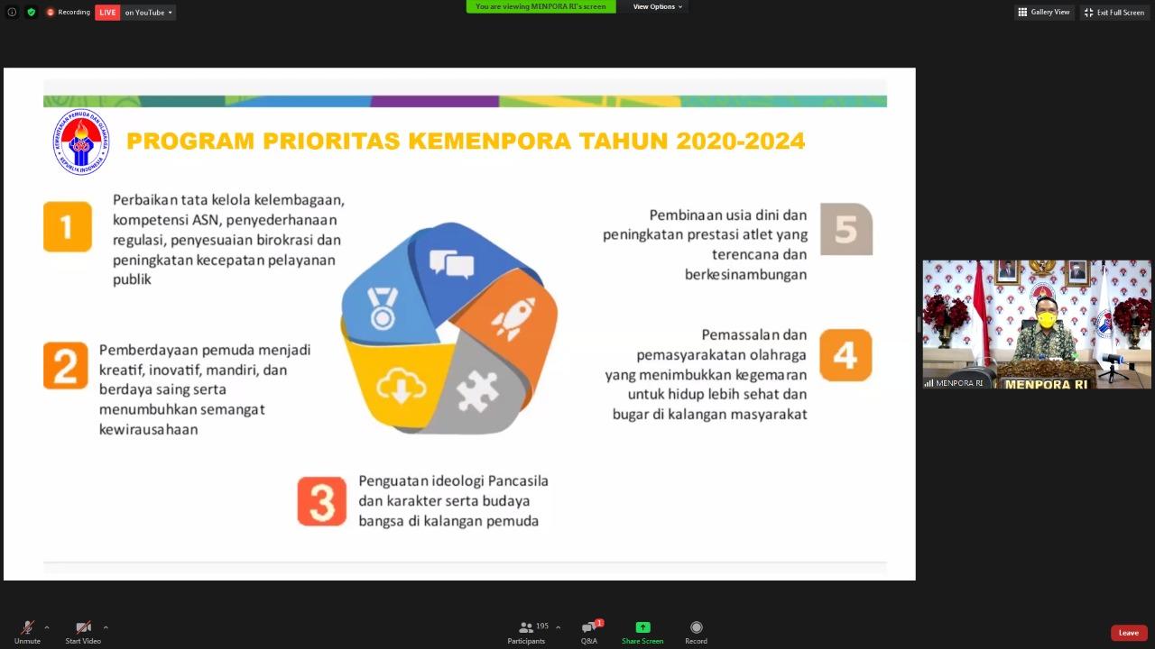 Kuliah Virtual Kewirausahaan Bersama Universitas Bung Karno, Menpora: Mulai Sekarang Mahasiswa Harus Mulai Berpikir Wirausaha