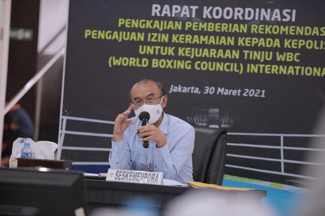 Kemenpora Gelar Rakor Pengkajian Pemberian Rekomendasi Izin Keramaian Kejuaraan Tinju World Boxing Council (WBC) International