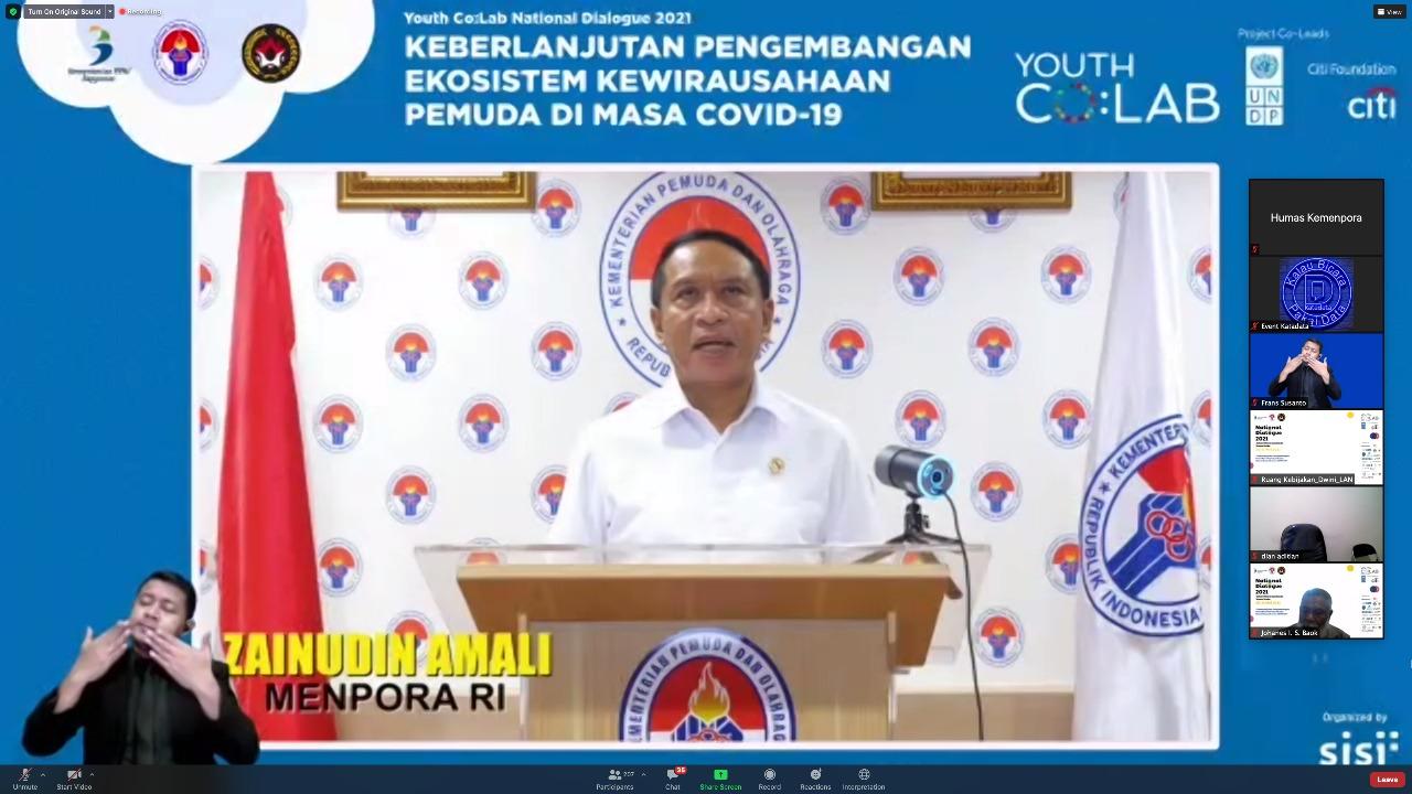 Jadi Pembicara Dialog Nasional 2021 UNDP Indonesia, Menpora Amali Dorong Pengembangan Kewirausahaan Pemuda