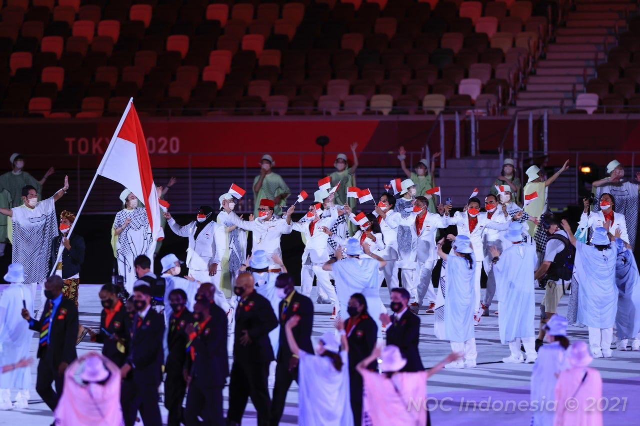 Kontingen Indonesia Tampil Gagah di Upacara Pembukaan Olimpiade Tokyo 2020